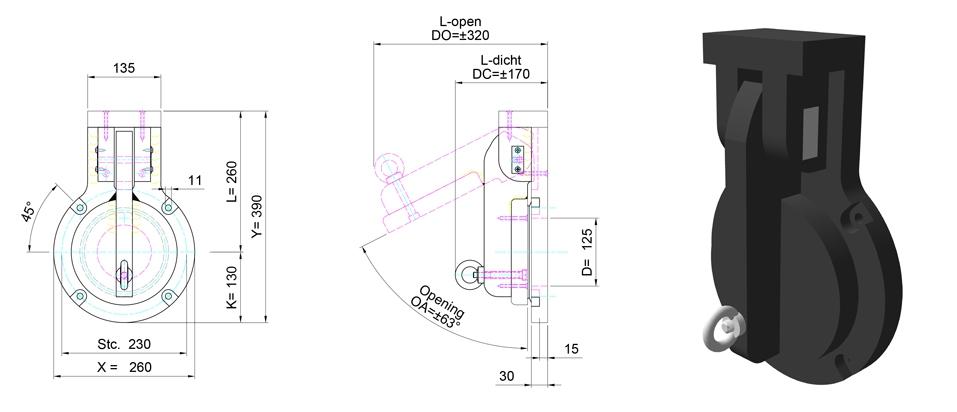 125mm Circular Flap Valve line drawing