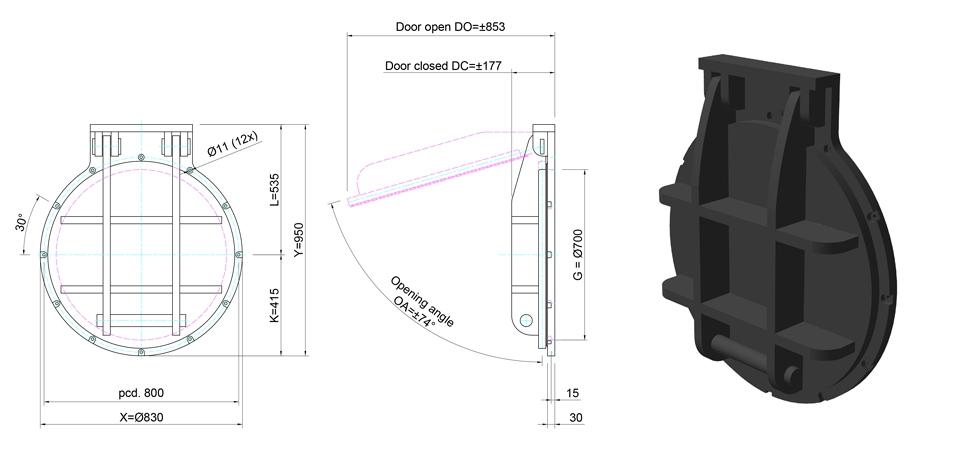 700mm Circular Flap Valve line drawing