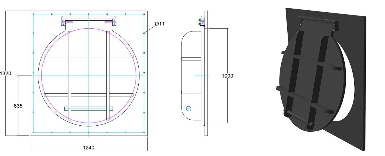 Althon HDPE 900mm Flap Valve line drawing