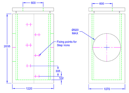 Chieftan Chamber 1220 x 1070 x 2035 line drawing