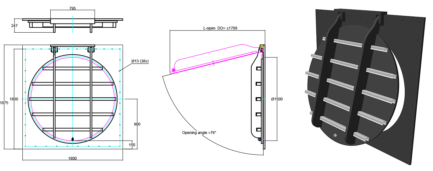Althon HDPE 1500mm Flap Valve line drawing