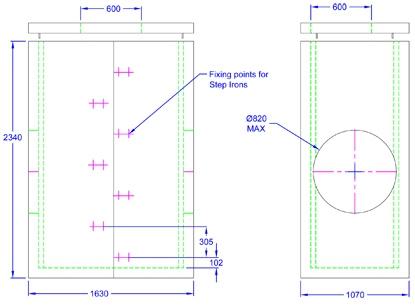 Chieftan Chamber 1630 x 1070 x 2340 line drawing