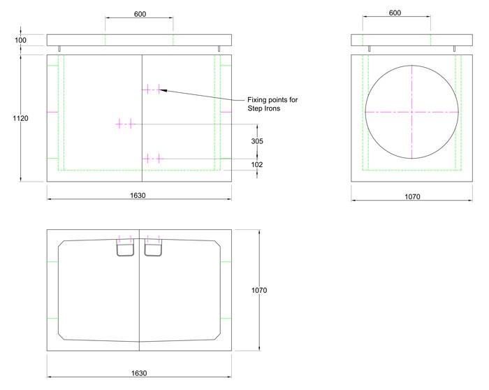 Chieftan Chamber 1630 x 1070 x 1120 line drawing