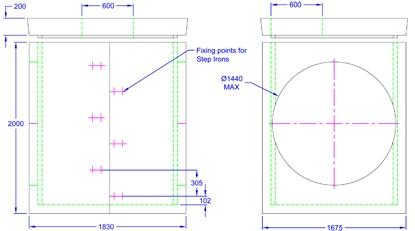 Chieftan Chamber 1830 x 1675 x 2000 line drawing