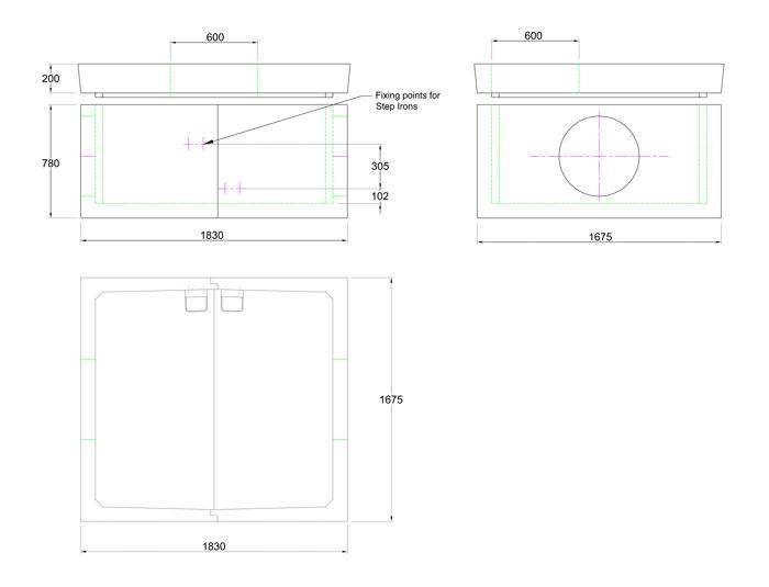 Chieftan Chamber 1830 x 1675 x 780 line drawing