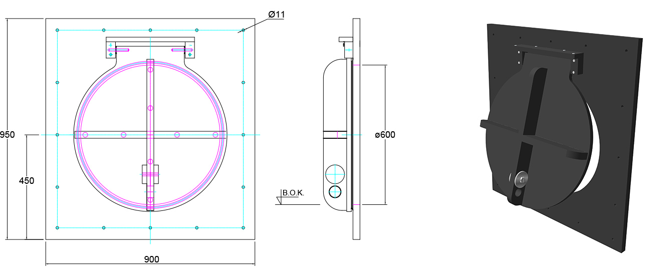 Althon HDPE 600mm Flap Valve line drawing