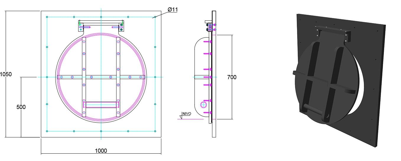 Althon HDPE 700mm Flap Valve line drawing