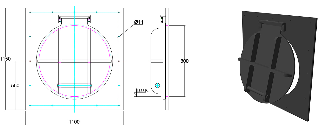 Althon HDPE 800mm Flap Valve line drawing