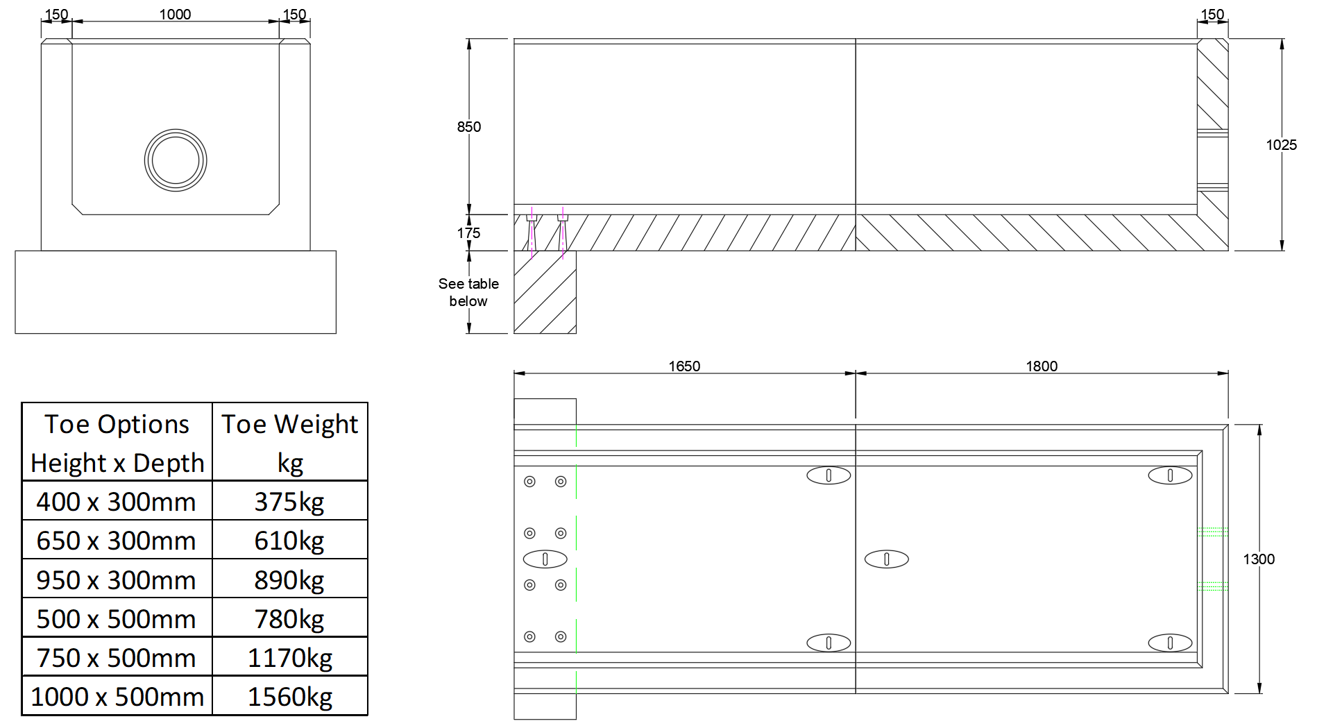 RCH10 A Channel Headwall line drawing