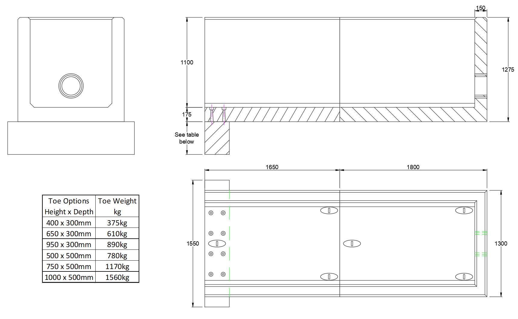 RCH10 B Channel Headwall line drawing