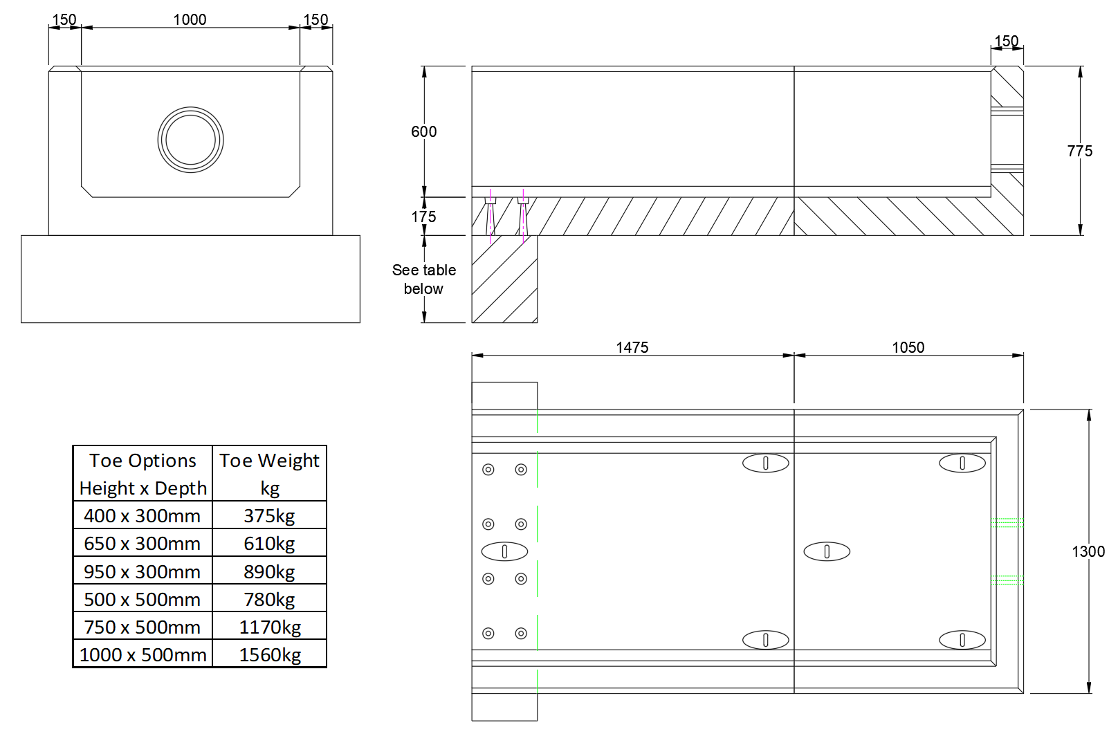RCH5 Channel Headwall line drawing
