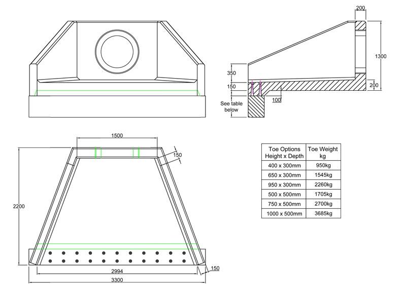 SFA15 A Headwall line drawing