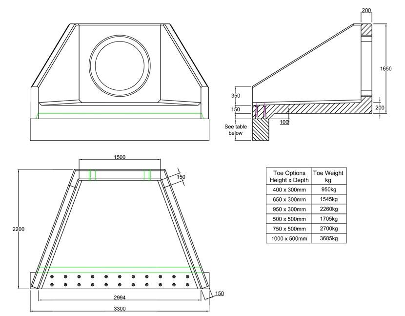 SFA15 B Headwall line drawing