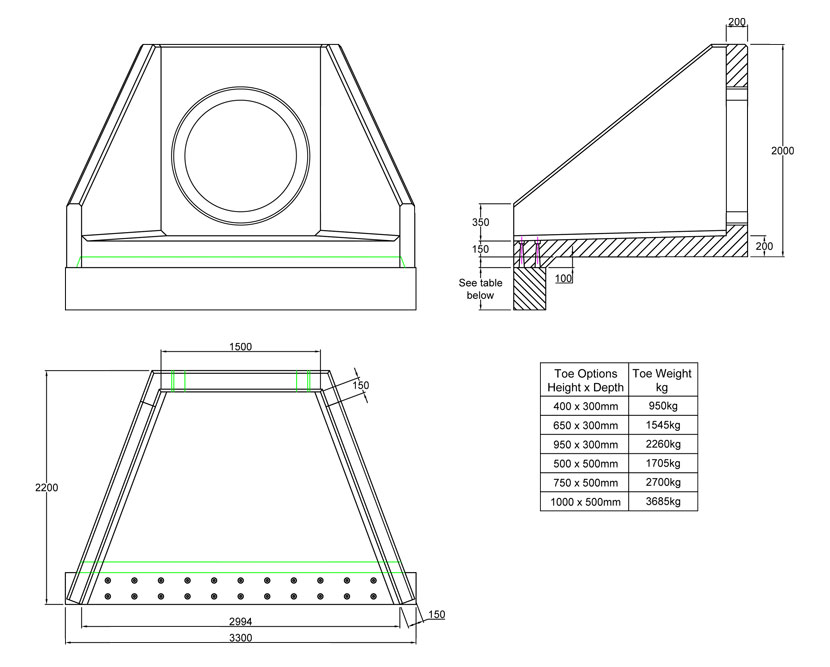 SFA15 C Headwall line drawing