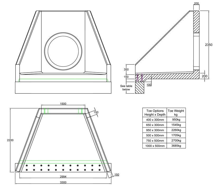 SFA15 D Headwall line drawing
