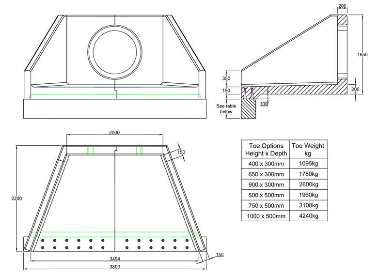 SFA20 B Headwall line drawing