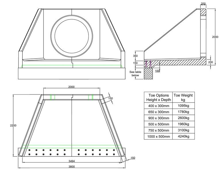 SFA20 C Headwall line drawing