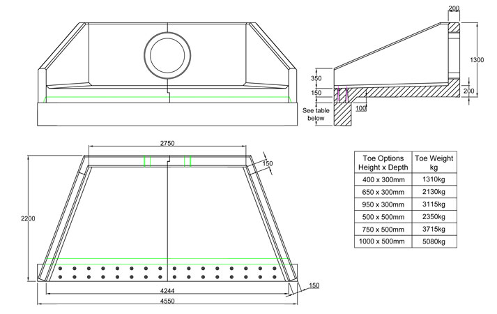 SFA27 A Headwall line drawing