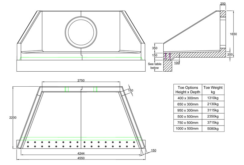 SFA27 B Headwall line drawing