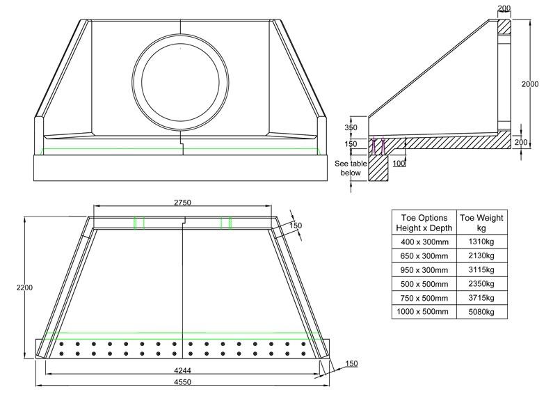 SFA27 C Headwall line drawing