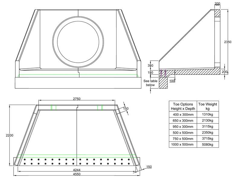 SFA27 D Headwall line drawing