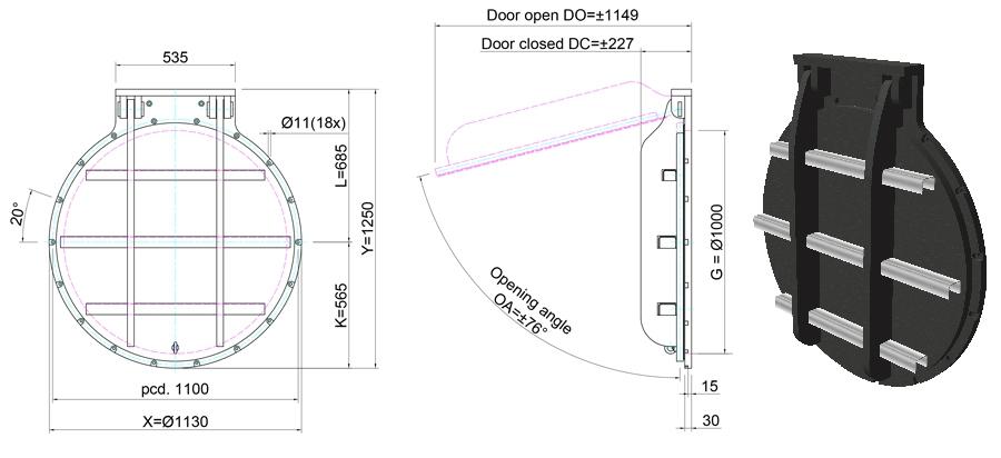 1000mm Circular Flap Valve line drawing