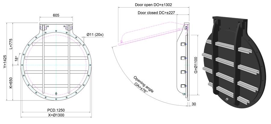 1100mm Circular Flap Valve line drawing