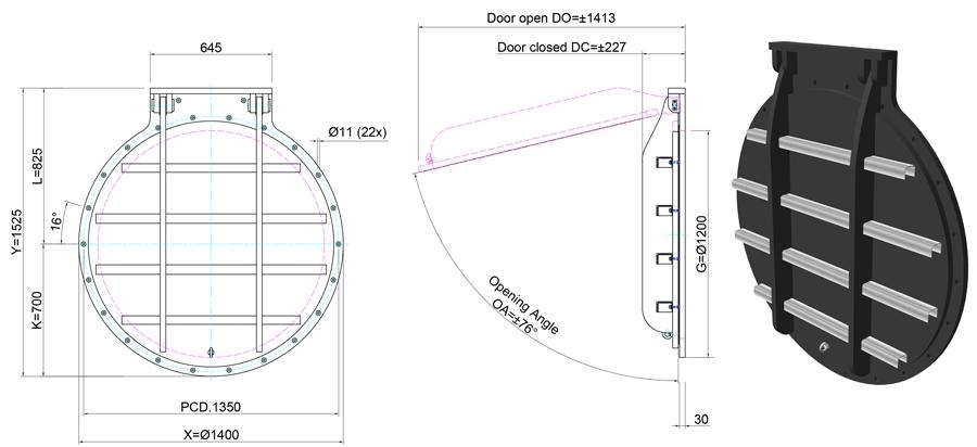 1200mm Circular Flap Valve line drawing