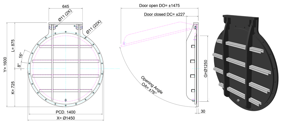 1250mm Circular Flap Valve line drawing