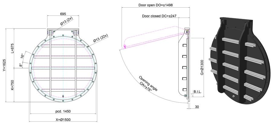 1300mm Circular Flap Valve line drawing