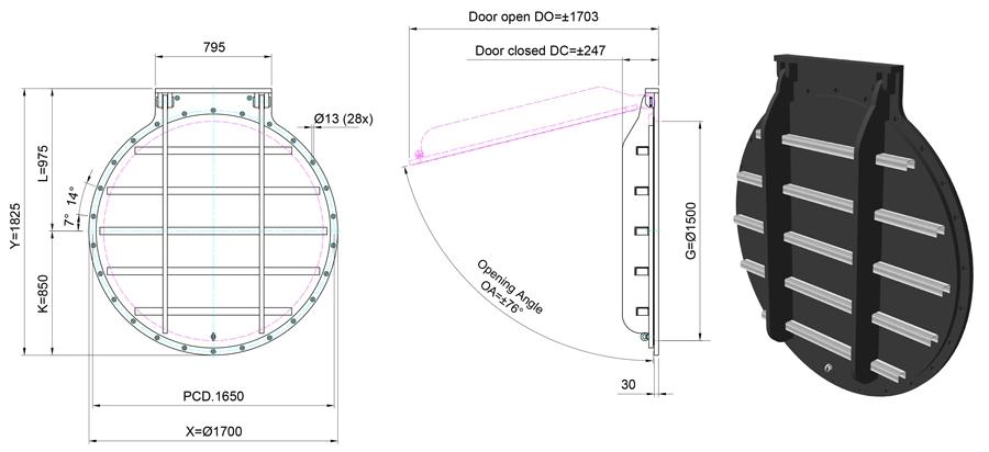 1500mm Circular Flap Valve line drawing