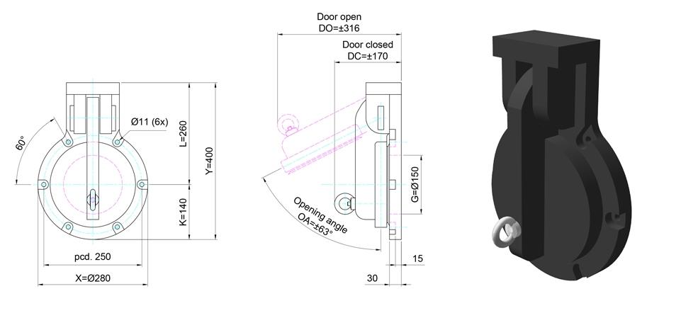 150mm Circular Flap Valve line drawing