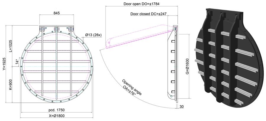 1600mm Circular Flap Valve line drawing