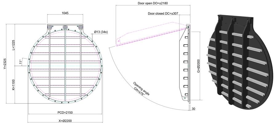 2000mm Circular Flap Valve line drawing
