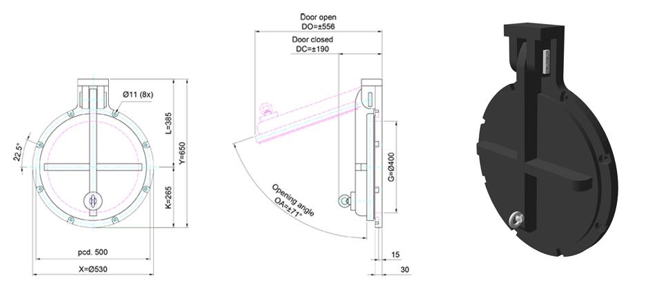 400mm Circular Flap Valve line drawing