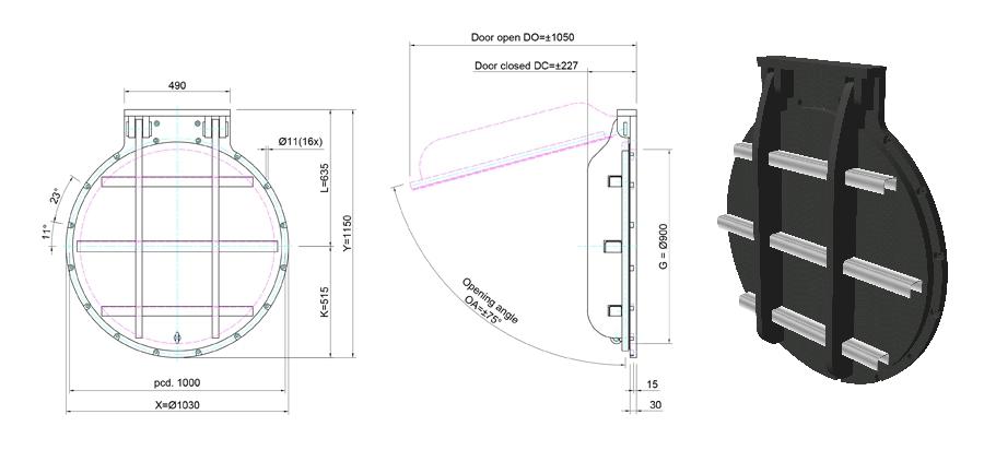 900mm Circular Flap Valve line drawing