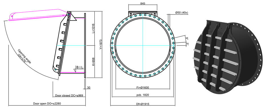 1600mm Flange Mounted Flap Valve line drawing