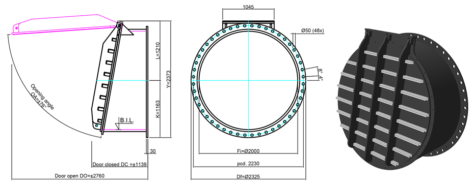 2000mm Flange Mounted Flap Valve line drawing