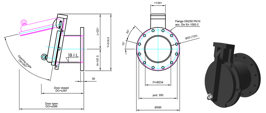 250mm Flange Mounted Flap Valve line drawing