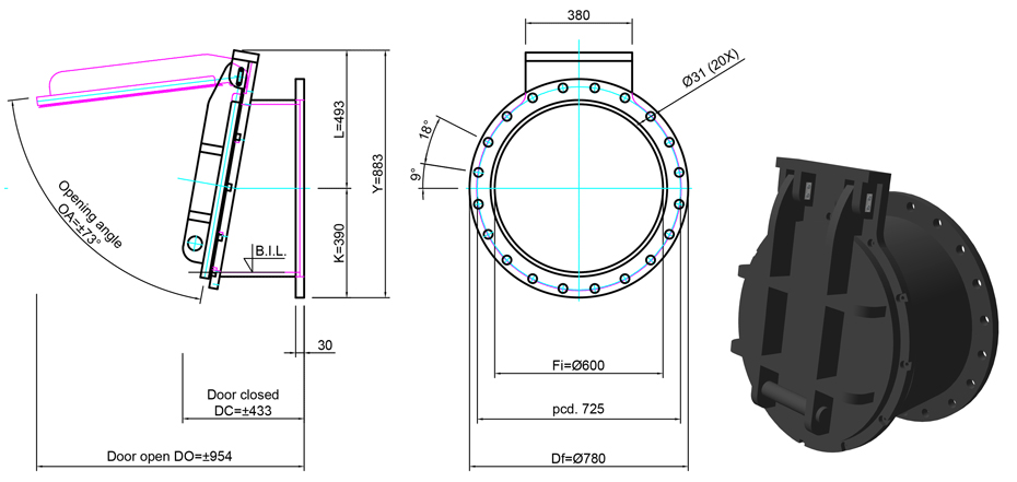 600mm Flange Mounted Flap Valve line drawing