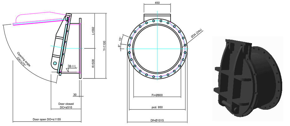 800mm Flange Mounted Flap Valve line drawing