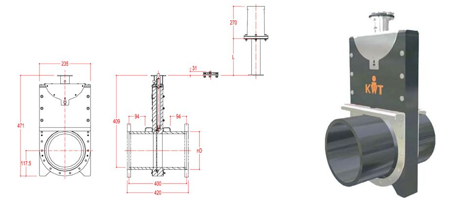 125mm Inline Penstock line drawing