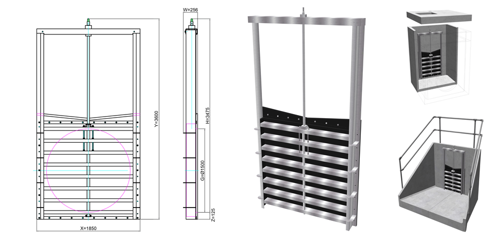 1500mm HDPE Penstock line drawing