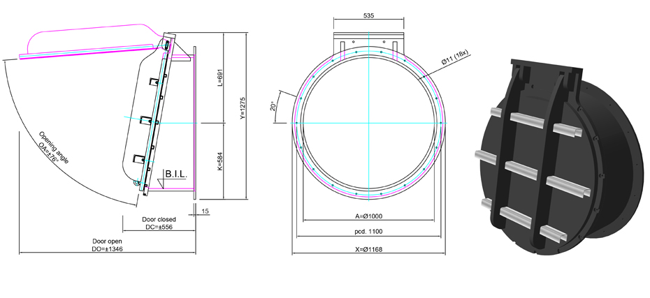 1000mm Tidal Flap Valve line drawing