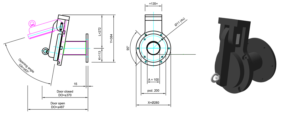 100mm Tidal Flap Valve line drawing