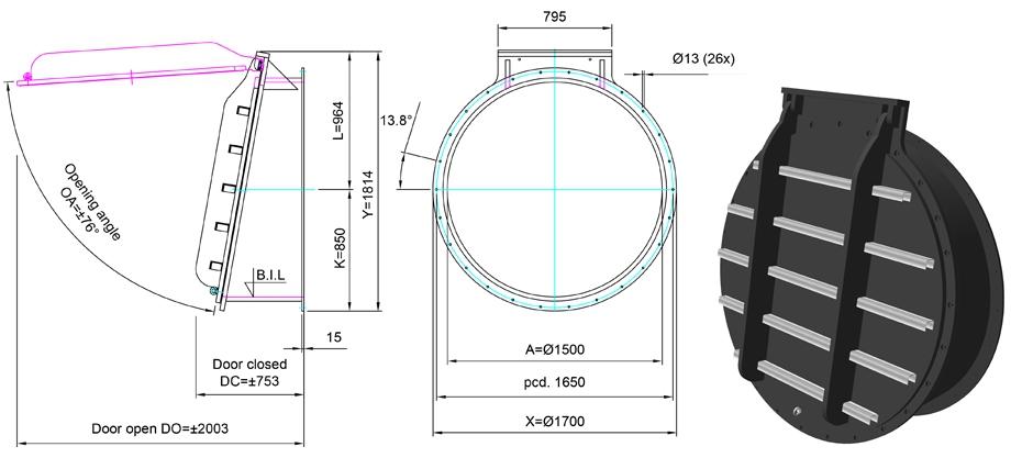 1500mm Tidal Flap Valve line drawing
