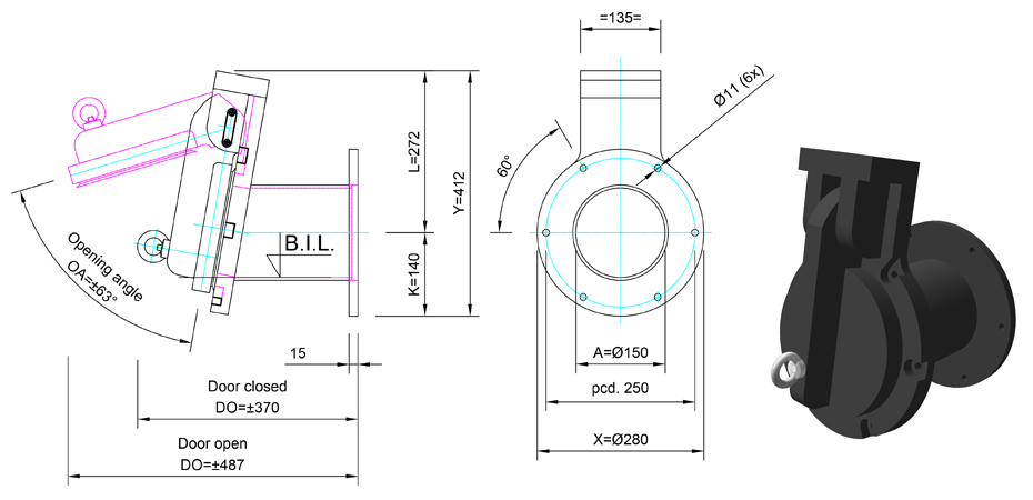 150mm Tidal Flap Valve line drawing