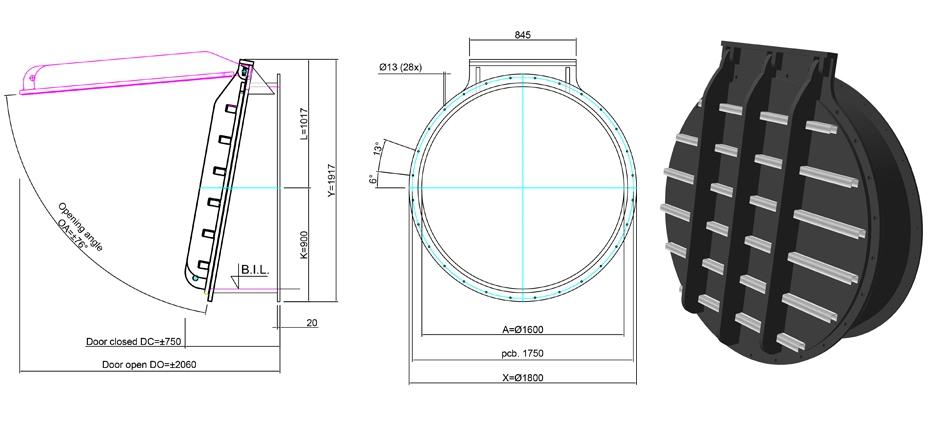 1600mm Tidal Flap Valve line drawing