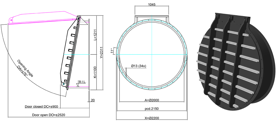 2000mm Tidal Flap Valve line drawing