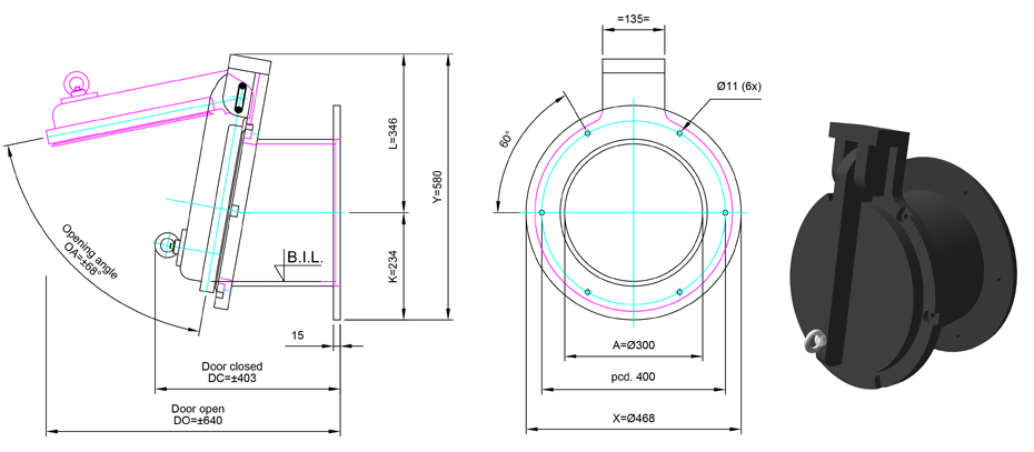 300mm Tidal Flap Valve line drawing
